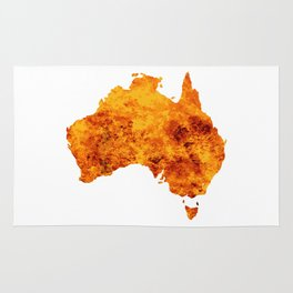 Australia Map With Flames Background Rug