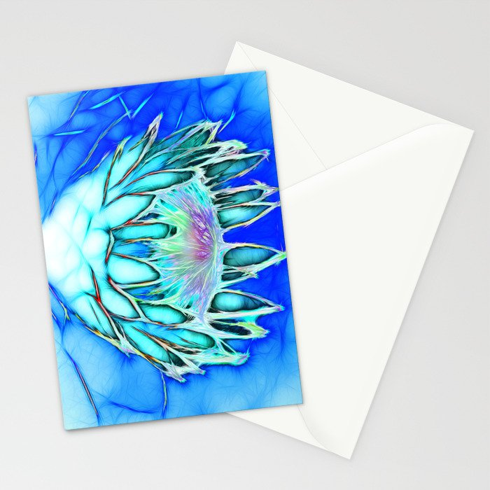 Telopea in blue Stationery Cards
