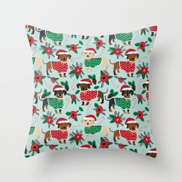Dachshund christmas sweater florals poinsettia holiday red and white santa hat for dog lover Throw Pillow