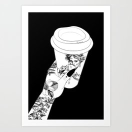 tattooed hand holding a coffee cup Art Print