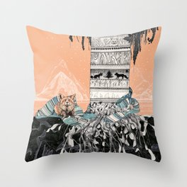 Fox Tree Throw Pillow