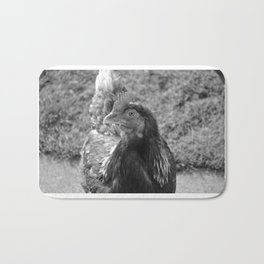 grayscale chicken (Ethel) Bath Mat
