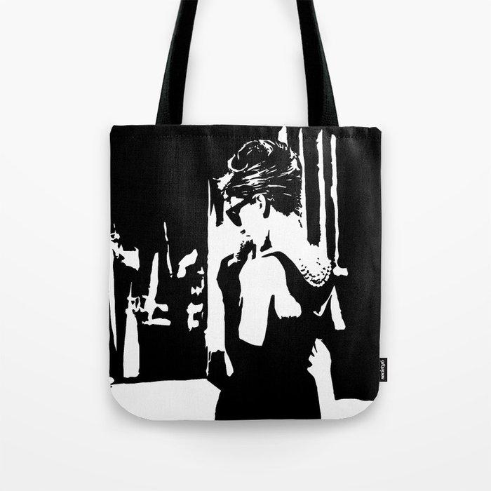 e255638ecd Audrey Hepburn in movie Breakfast at Tiffany's. Black and white portrait,  monochrome stencil art Tote Bag