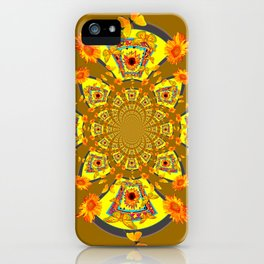 ABSTRACT SUNFLOWERS & BUTTERFLIES KHAKI ART iPhone Case