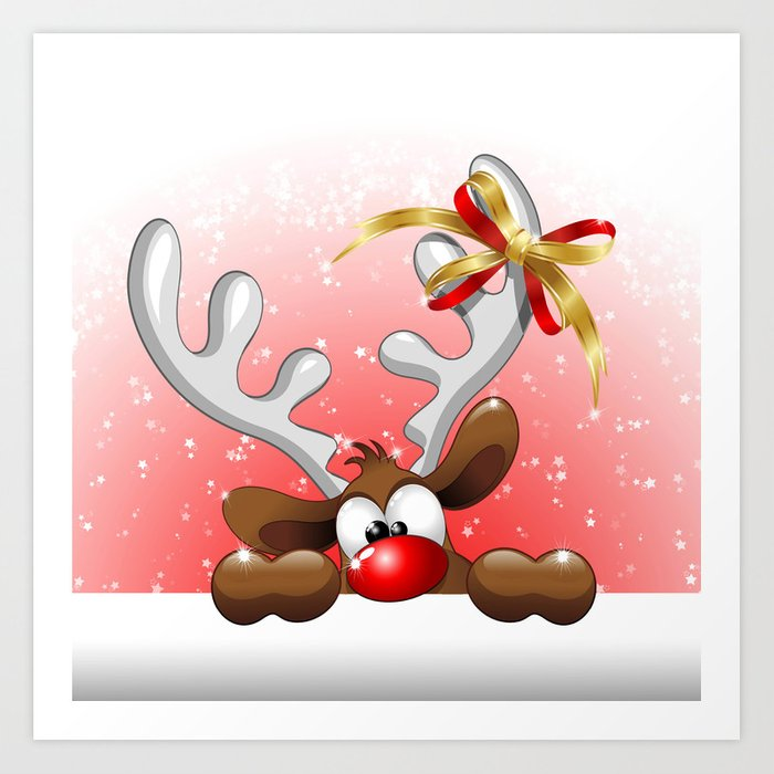 Funny Christmas.Funny Christmas Reindeer Cartoon Art Print By Bluedarkatlem