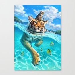 A small swim for a tiger Canvas Print