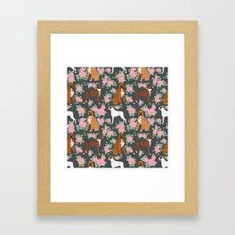 Boxer florals floral pattern dog portrait pet friendly dog breeds boxers Framed Art Print
