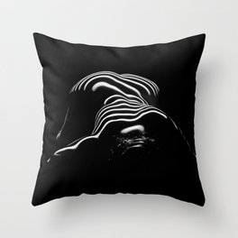 0686- Nude Female Naked BBW Geometric Black White Naked Body Big Abstracted Sensual Sexy Erotic Art Throw Pillow