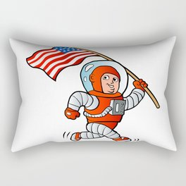 Astronaut with american flag Rectangular Pillow