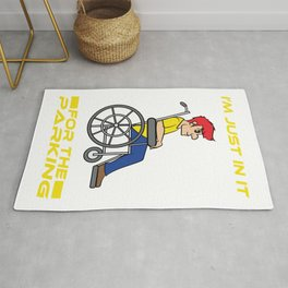 A Reddish Haired Man on a Wheelchair T-shirt Design that says I'm Just in t for the Parking Rug