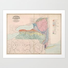 Vintage Geological Map of New York State (1870) Art Print