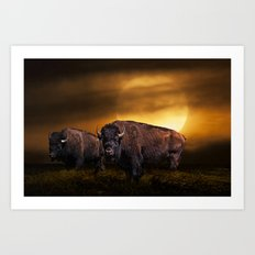 American Buffalo Bison under a Super Moon Rise Art Print
