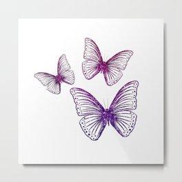 Glitter Butterflies Metal Print