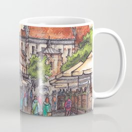 Town view ink & watercolor illustration Kazimierz Dolny Poland Coffee Mug
