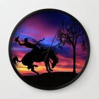 cowboy Wall Clocks featuring Cowboy by Laureenr