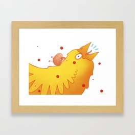 not seeing where she was going, she tripped on to a bird Framed Art Print