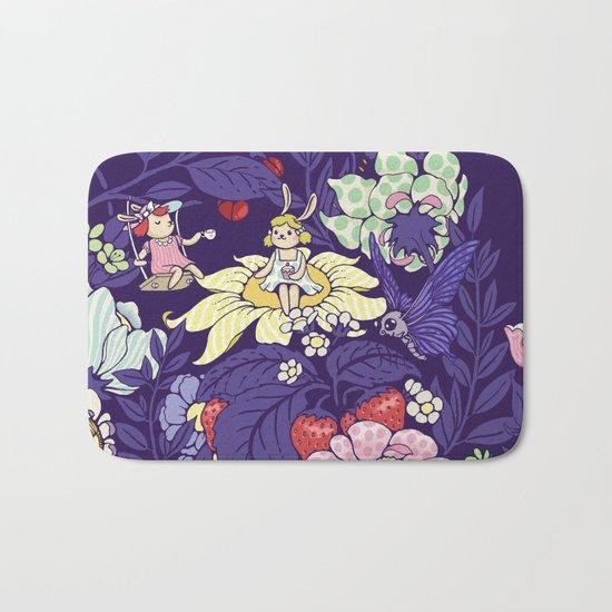 Garden party - blueberry tea version Bath Mat