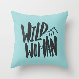Wild Woman x Blue Throw Pillow
