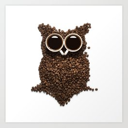 Coffee Owl Art Print