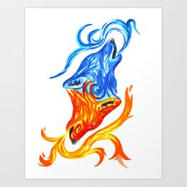Fire and Water Wolves Art Print