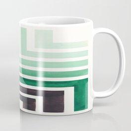 Deep Green Teal Mid Century Modern Watercolor Colorful Ancient Aztec Art Pattern Minimalist Geometri Coffee Mug