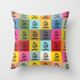 HAPPY SQUARES Throw Pillow
