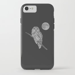 Owl, See the Moon (bw) iPhone Case
