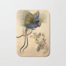 """The Beautiful Bird of Paradise"" Art by Warwick Goble Bath Mat"