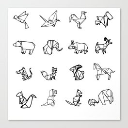 Origami Animal Set Canvas Print
