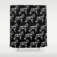 schnauzer Shower Curtains featuring poli schnauzer by monicamarcov