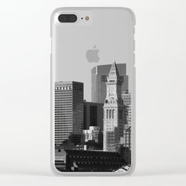 Boston Massachusetts Skyline Black and White Clear iPhone Case