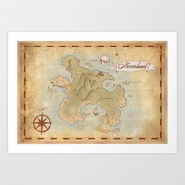 Map of Neverland Art Print