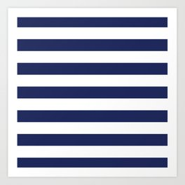 Navy Blue and White Stripes Art Print