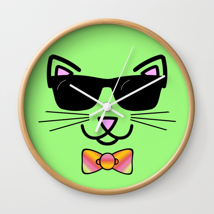 6276855837 Cool Cat Wearing Bow Tie Wall Clock by gx9designs