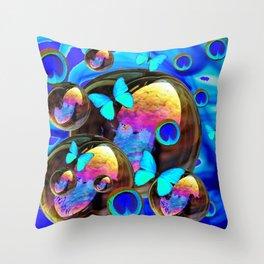 SURREAL NEON BLUE BUTTERFLIES IRIDESCENT SOAP BUBBLES PEACOCK EYES Throw Pillow