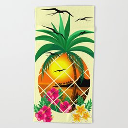 Pineapple Tropical Sunset, Palm Tree and Flowers Beach Towel