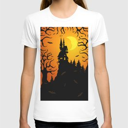 Scary dark forest with a fairy castle on top of the mountain lit by the bright light of the moon T-shirt