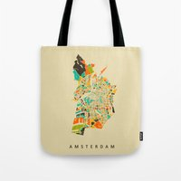 amsterdam Tote Bags featuring Amsterdam by Nicksman
