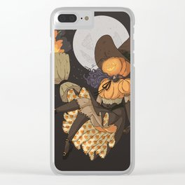 Pumpkin Witch Clear iPhone Case
