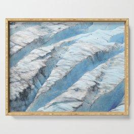 Don't Fall! Alaskan Glacier's Dangerous Blue Ice Crevasses Serving Tray