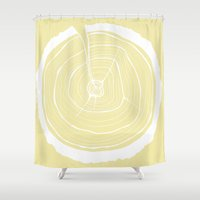 tree rings Shower Curtains featuring Tree Rings 2 by Kristy Ann