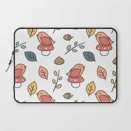 cute lovely autumn fall pattern with birds, mushroom, leaves, branches, acorns and chestnuts Laptop Sleeve