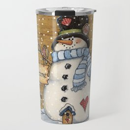 Folk Art Snowman Christmas Travel Mug