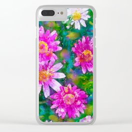 Pink Daisies Flower Party 1 by Jennifer Berdy Clear iPhone Case