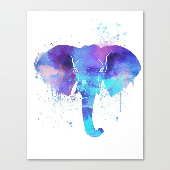 Watercolor Elephant Head Canvas Print