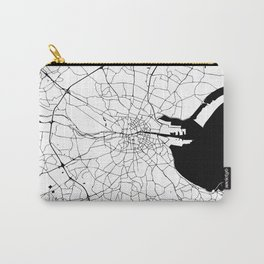 White on Black Dublin Street Map Carry-All Pouch