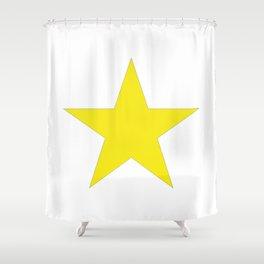 Yellow star on white Shower Curtain