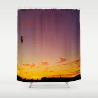 ballon Shower Curtains featuring Ballon Sunset by JDHicks