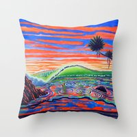 psychadelic Throw Pillows featuring  Surf Art Psychadelic  by Surf Art Gabriel Picillo