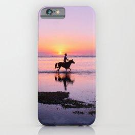 man horse silhouettes ocean coast gili trawangan indonesia iPhone Case
